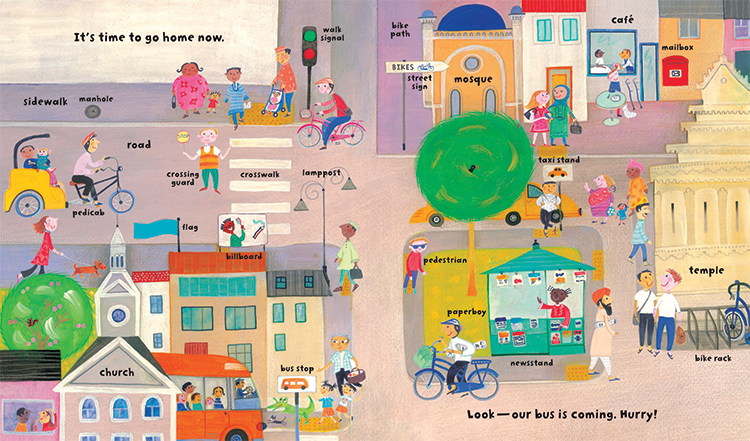 My Big Barefoot Book of Wonderful Words illustration of a street, featuring diverse religions