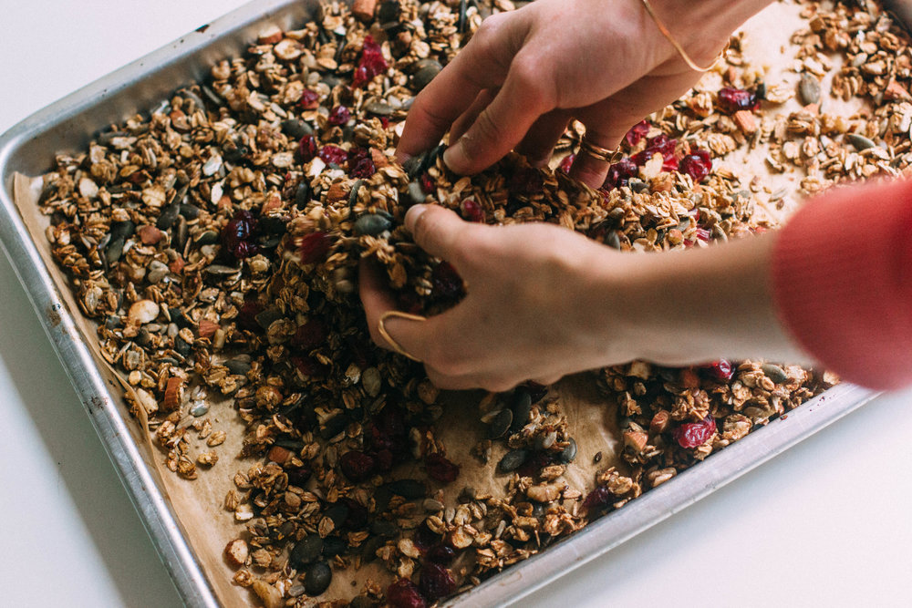 nutmeg and pear | healthy refined sugar free orange & cranberry granola w/ ginger