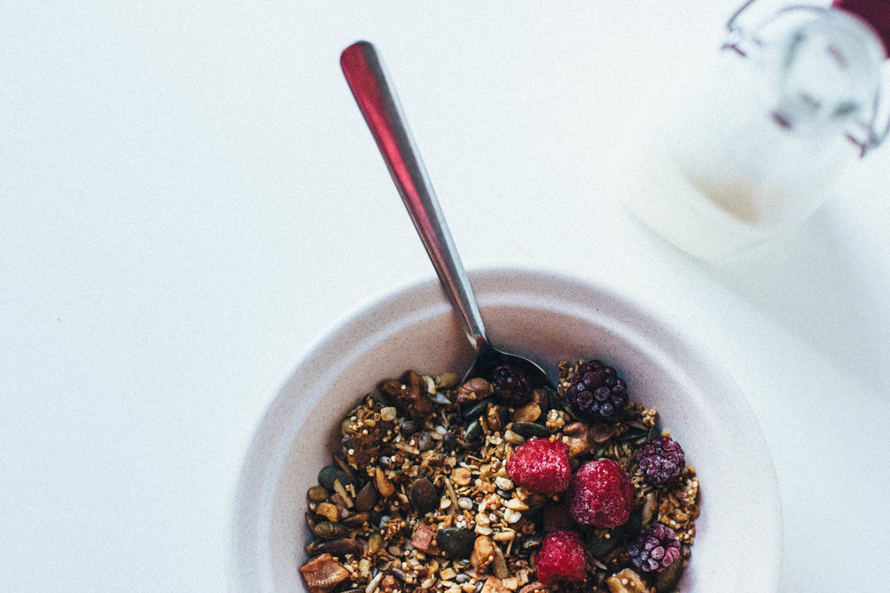 nutmeg and pear | honey-sweetened olive oil granola w/ quinoa (gf + low carb)