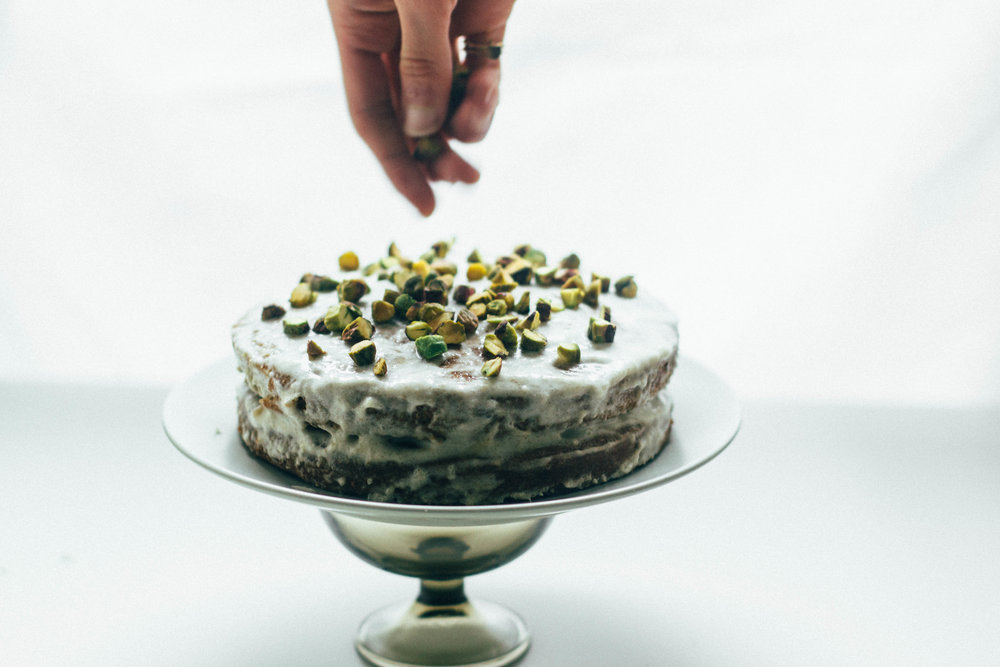 nutmeg and pear| cardamom + pistachio layer cake (gluten free + dairy free)