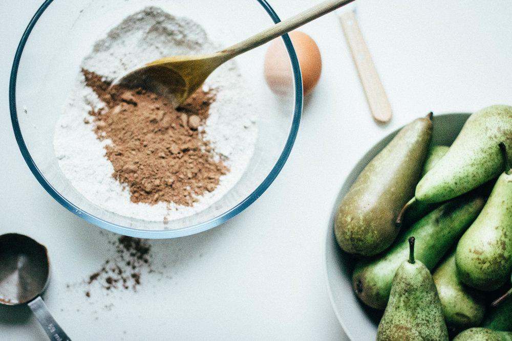 pear-cocoa muffins