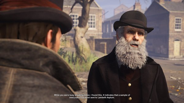 Discussing conspiracies surrounding quack cough syrup elixir leads to a confrontation with Sir Richard Owen. Credit: Ubisoft