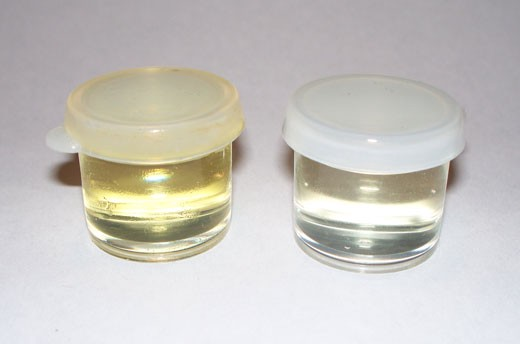 Yellowish, flexible Linseed Oil on the left; Clear, prone-to-cracking Walnut Oil on the right.