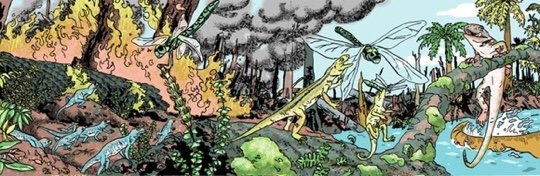 Panel from Book 4: The Carboniferous from Estrella Vega's Paleozoic Series. Credit:  Estrella Vega