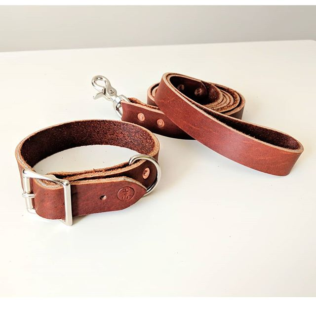"""Leather leash & collar workshop! . Chuck from @earthandhide will instruct you while you cut and rivet leather to make your best friend the perfect pet accessory! . Collars are 1"""" wide and can be cut to any length. Make sure to bring in measurements from an existing collar or the neck of the dog that will wear it. The leashes can be 6' or 8' and you have the option to upgrade to a tactical style leash for an extra $20 (paid day of the workshop). . LEATHER CHOICES ARE BLACK BROWN BURGUNDY NATURAL COLOR LEATHER . The link is in our bio to sign up and new pricing on this one so check again!"""