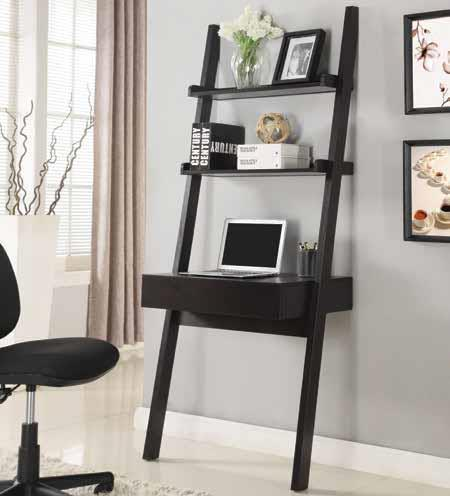 Wall Leaning Writing Ladder Desk And Bookcases Cappuccino Ladder