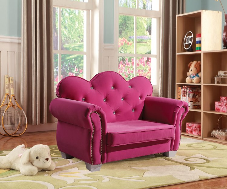 Vivian Youth Chair In Pink Tufted Fabric — Casa Bella Furniture Gallery