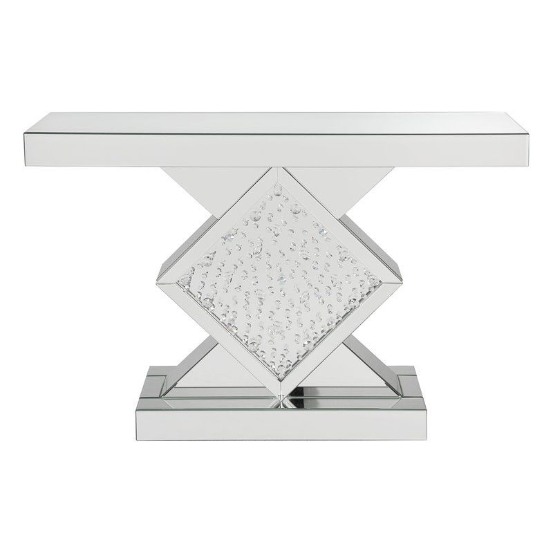 Nysa Glass Top Mirrored Console Table