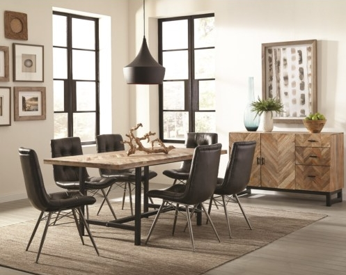Thompson Rustic Dining Room Group With Six Retro Chairs