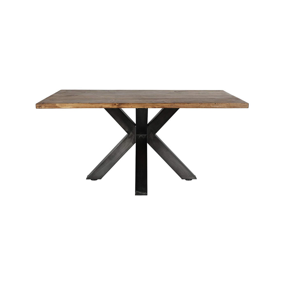 "Featured Product - PRODUCT INFOThe Hosmer dining table creates a clean and modern environment in your dining room. The table consists of an X-shaped pedestal base with a rectangular wooden top.SPECIFICATIONS• Table: 38"" W x 64"" L• Chair: 33"" H• Seat Height: 18"" x Seat Depth: 18"""