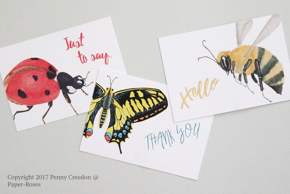 Paper-Roses | Insects note card collection