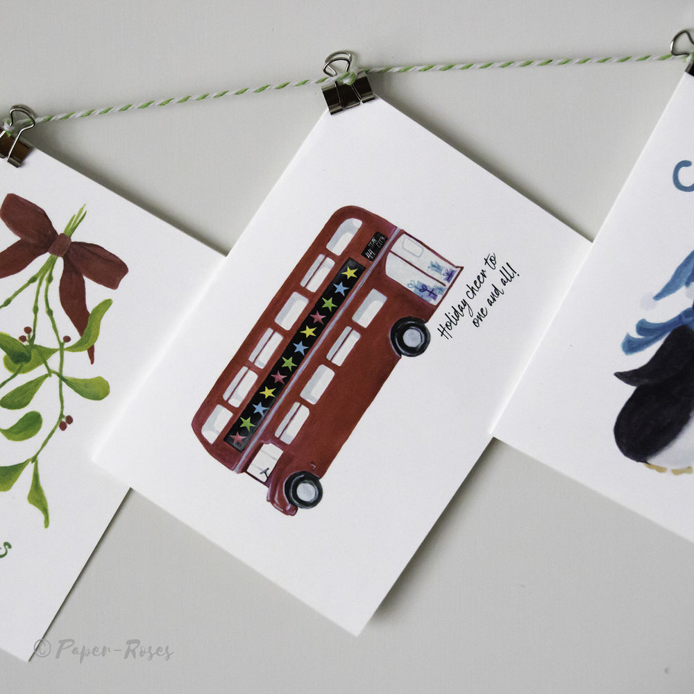 Paper-Roses   Festive shop   Routemaster bus holiday card
