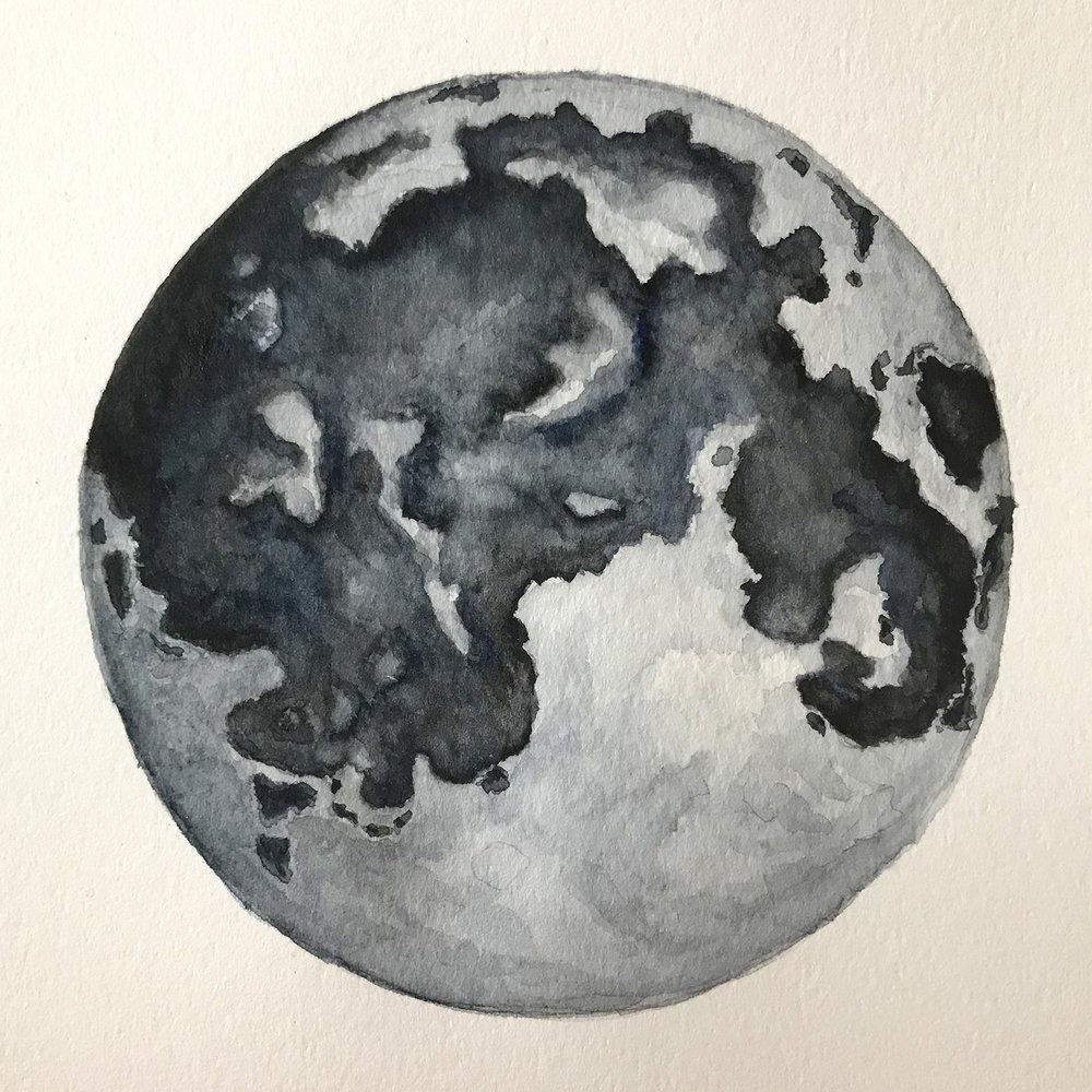 Paper-Roses | Original artwork by Penny Creedon | Full moon | Image 4
