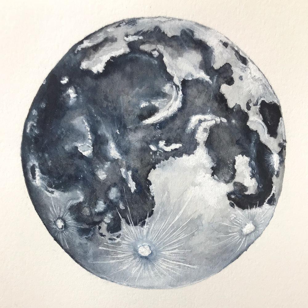 Paper-Roses | Original artwork by Penny Creedon | Full moon | Image 7