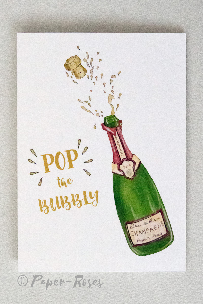 Paper-Roses | Greetings Cards | Pop the bubbly card