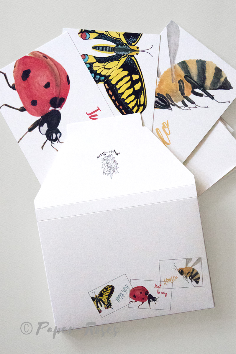 Paper-Roses | Note cards | Kaleidoscope of insects note card gift set