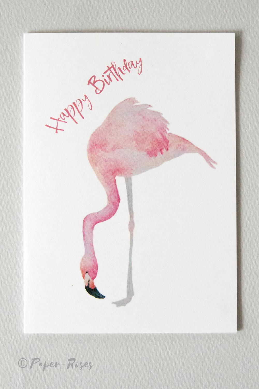 Paper-Roses | Greetings cards | Flamingos card