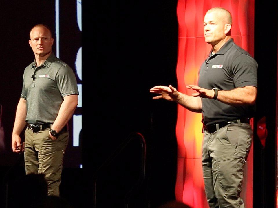 Former Navy SEALs Leif Babin, left, and Jocko Willink.