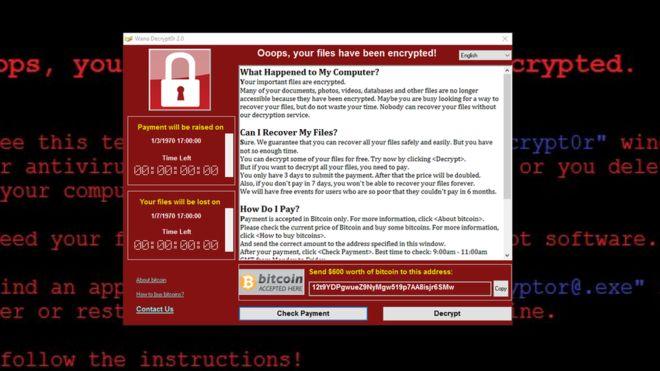 """Le message qui apparaissait sur les appareils infectés pas l'attaque digitale """"WannaCry""""."""