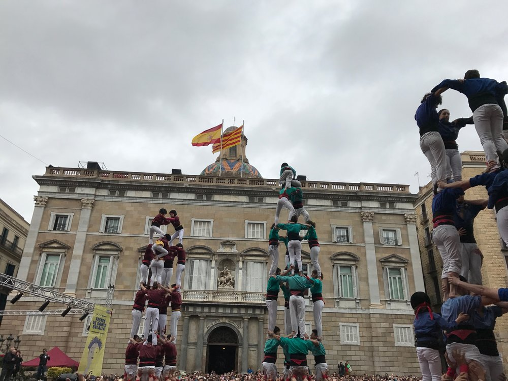 Almost finished building some of the first castells with the Spanish and Catalan flags flying.