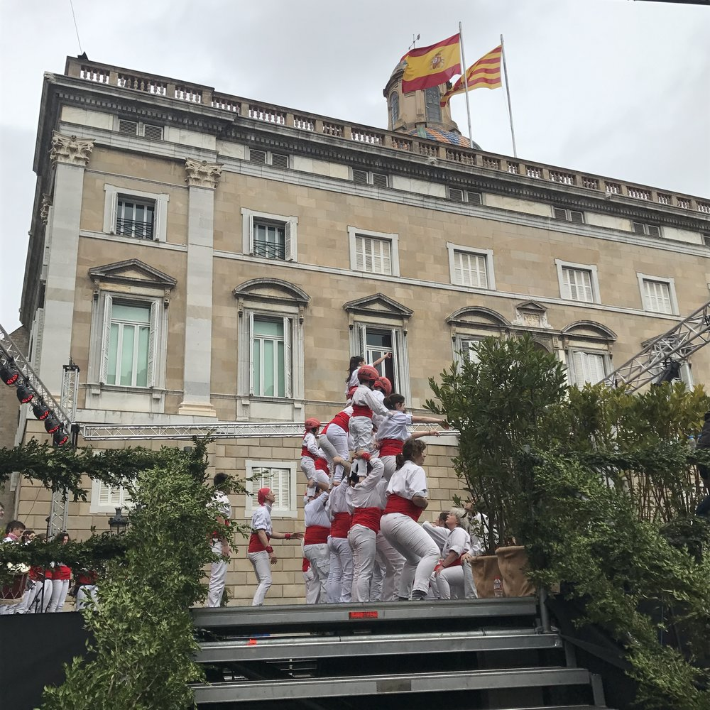 The falconers under the Catalan and Spanish flags