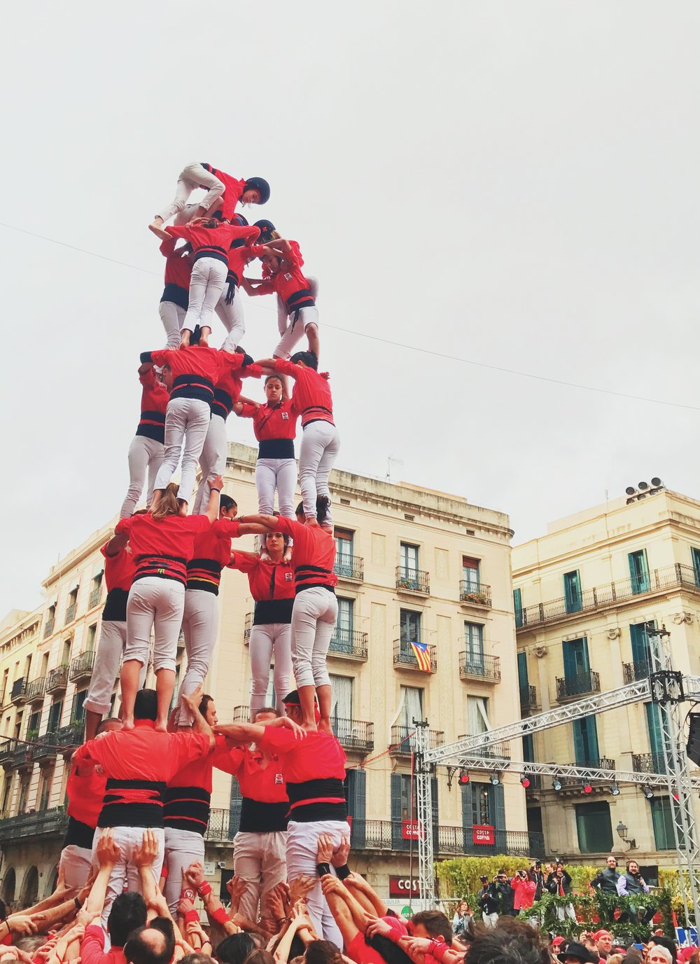 Close enough to lend a helping hand to the castellers
