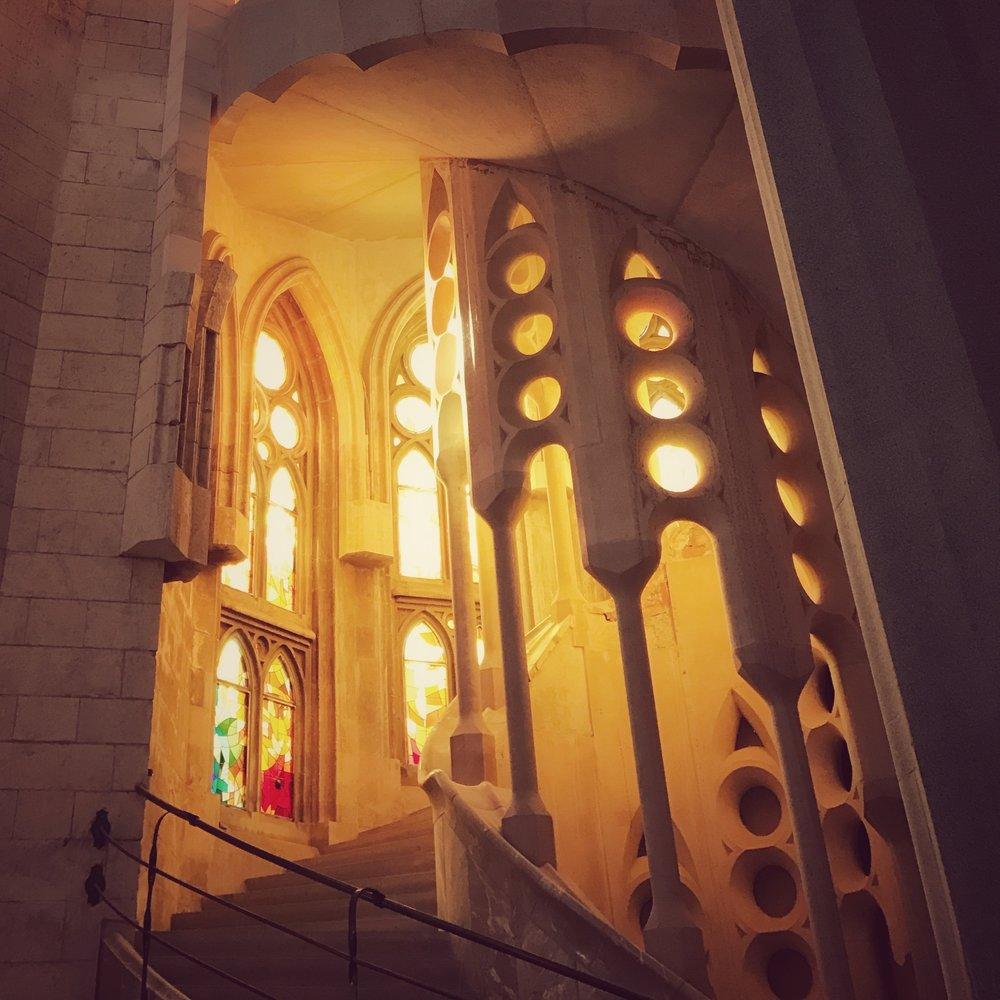 Glowing stairway in Le Segrada Familia