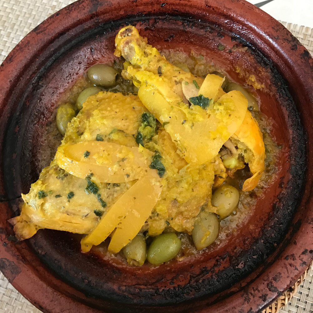 A chicken and olive tagine with preserved lemons from one of our favorite spots in Marrakech
