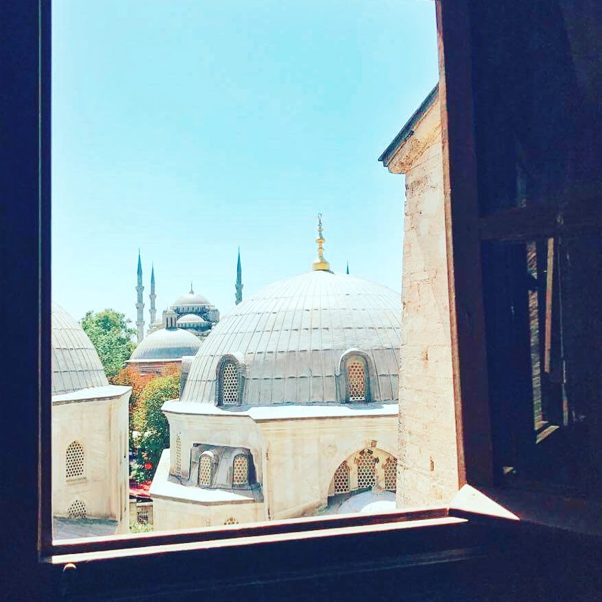 Looking from inside the Hagia Sofia across to the Blue Mosque