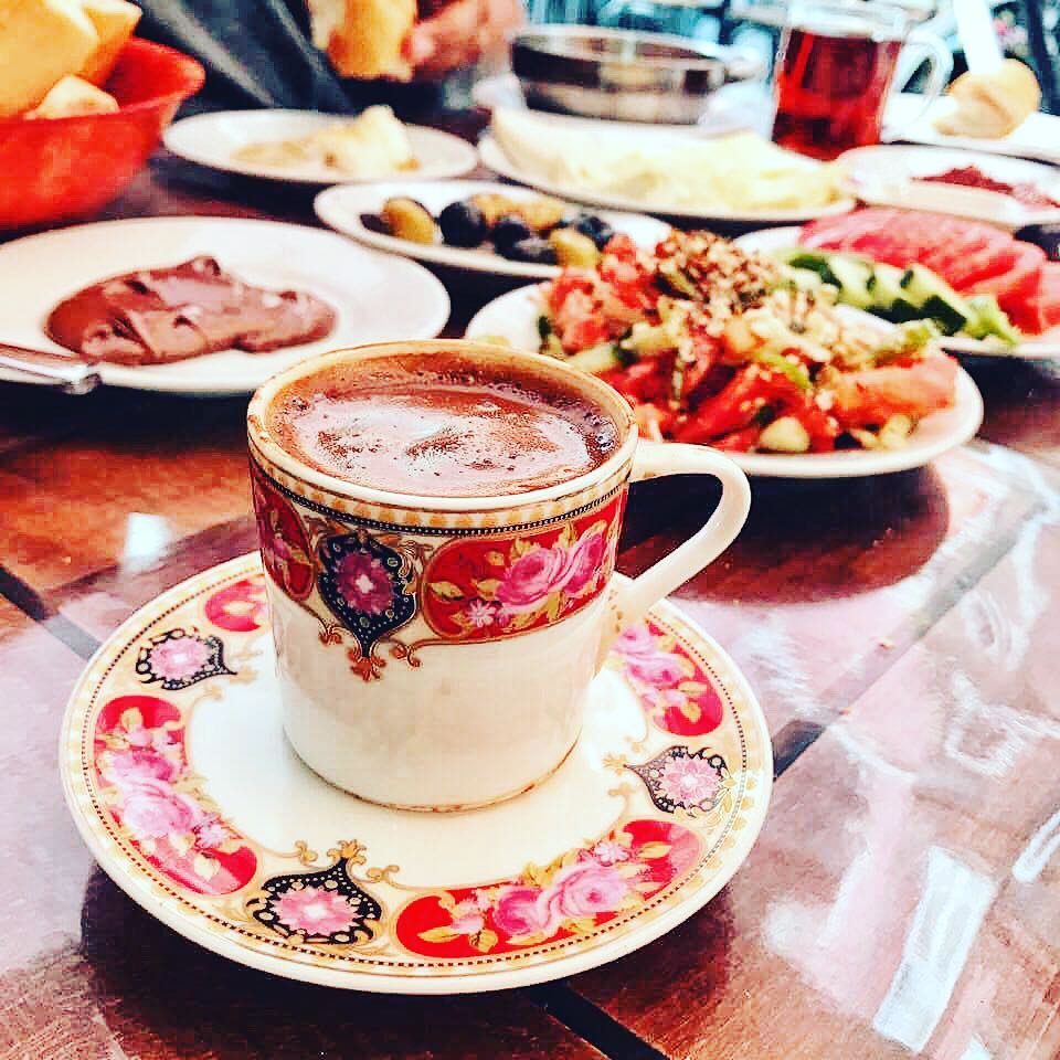 Turkish coffee and breakfast at Besitkas street