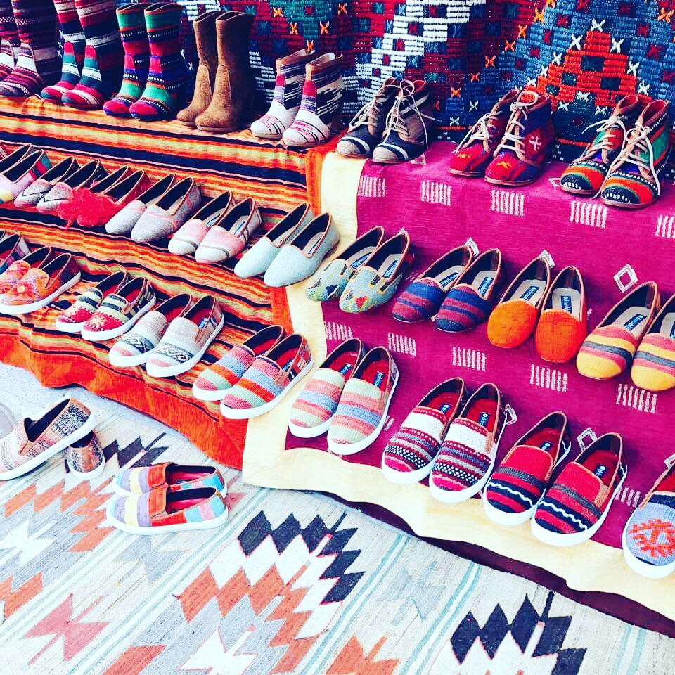 Shoes made from old Turkish rugs