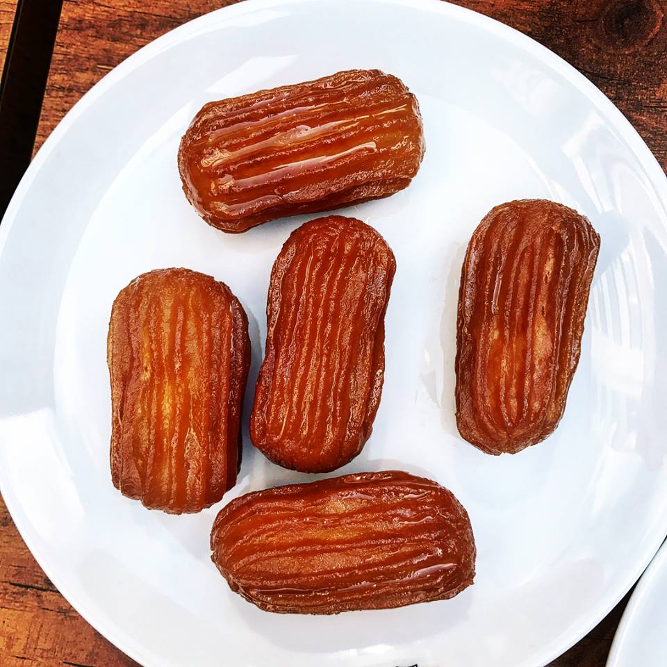 Tulumba, a type of fried dough soaked in honey