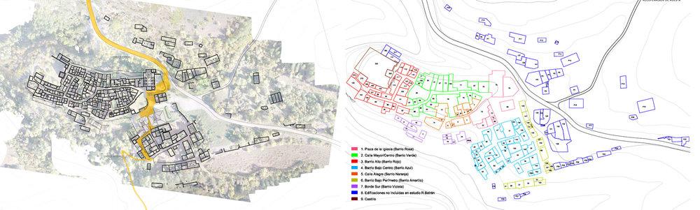 Planta general y propiedades. Estado actual de Ruesta. Dibujo: Sergio Sebastián arquitecto