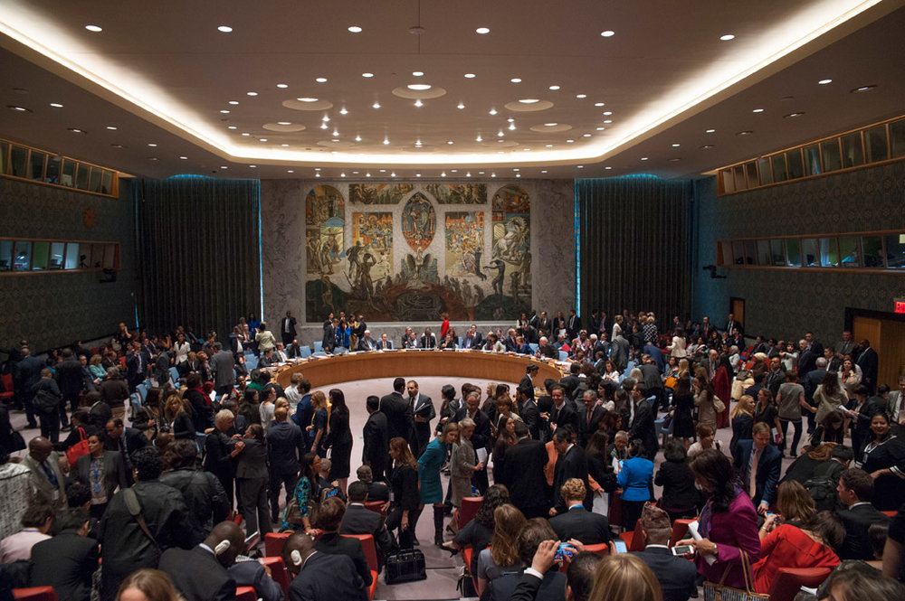 Delegates in the Security Council Chamber 21/10/2015 before the start of a debate on women, peace and security. UN Photo/Cia Pak : Image from UN News Centre