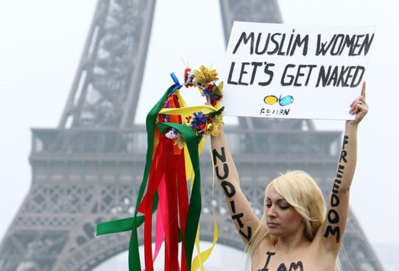 Protestor at Femen's International Topless Jihad Day
