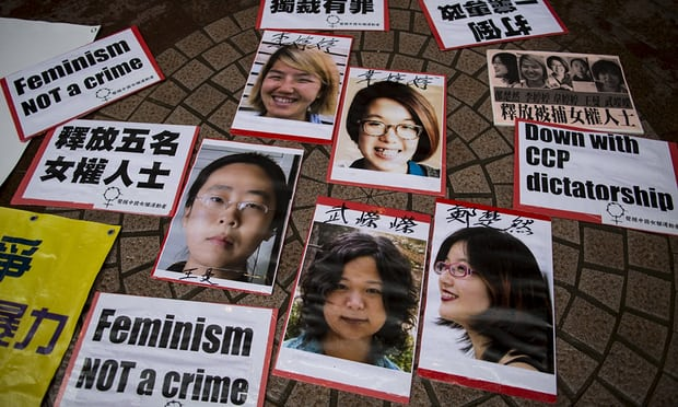 The 'Gang of Five' -  Portraits of Li Tingting (top left), Wei Tingting (top right), Wang Man, Wu Rongrong and Zheng Churan (bottom left to right) during a protest calling for their release in Hong Kong on 11 April. Photograph: Tyrone Siu/Reuters via  The Guardian