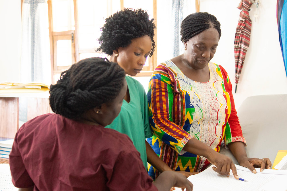 Sister Boyama Gladys Katingor spends time training her midwifery team at Wellbody Clinic, Sierra Leone.