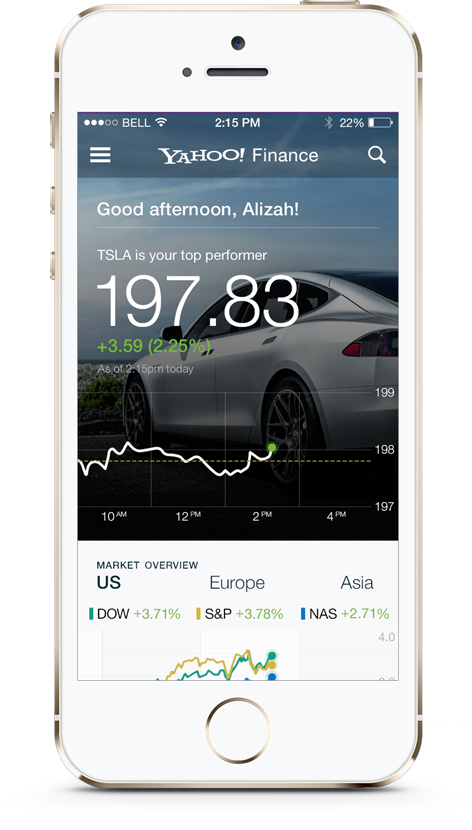 Home screen + welcome card, including real-time chart of a user's highest performing stock and a personalized greeting