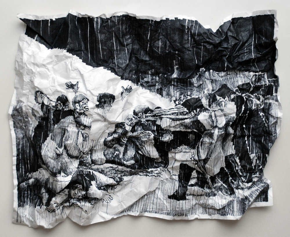 Javier Arce, Fusilamientos 3 de Mayo , Felt-tip pen on indestructible paper and garbage bag , 240 x 220 cm.
