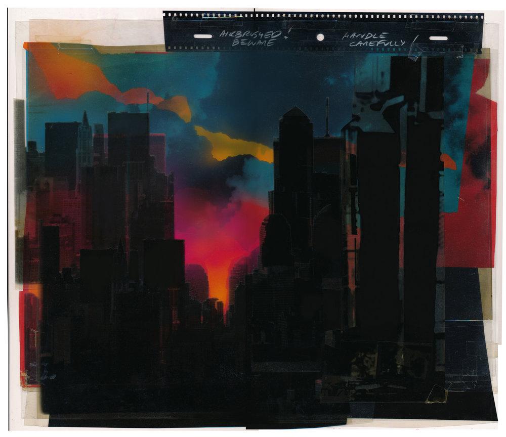 Twin Towers, 1981. Kodalith cells, gouache, card