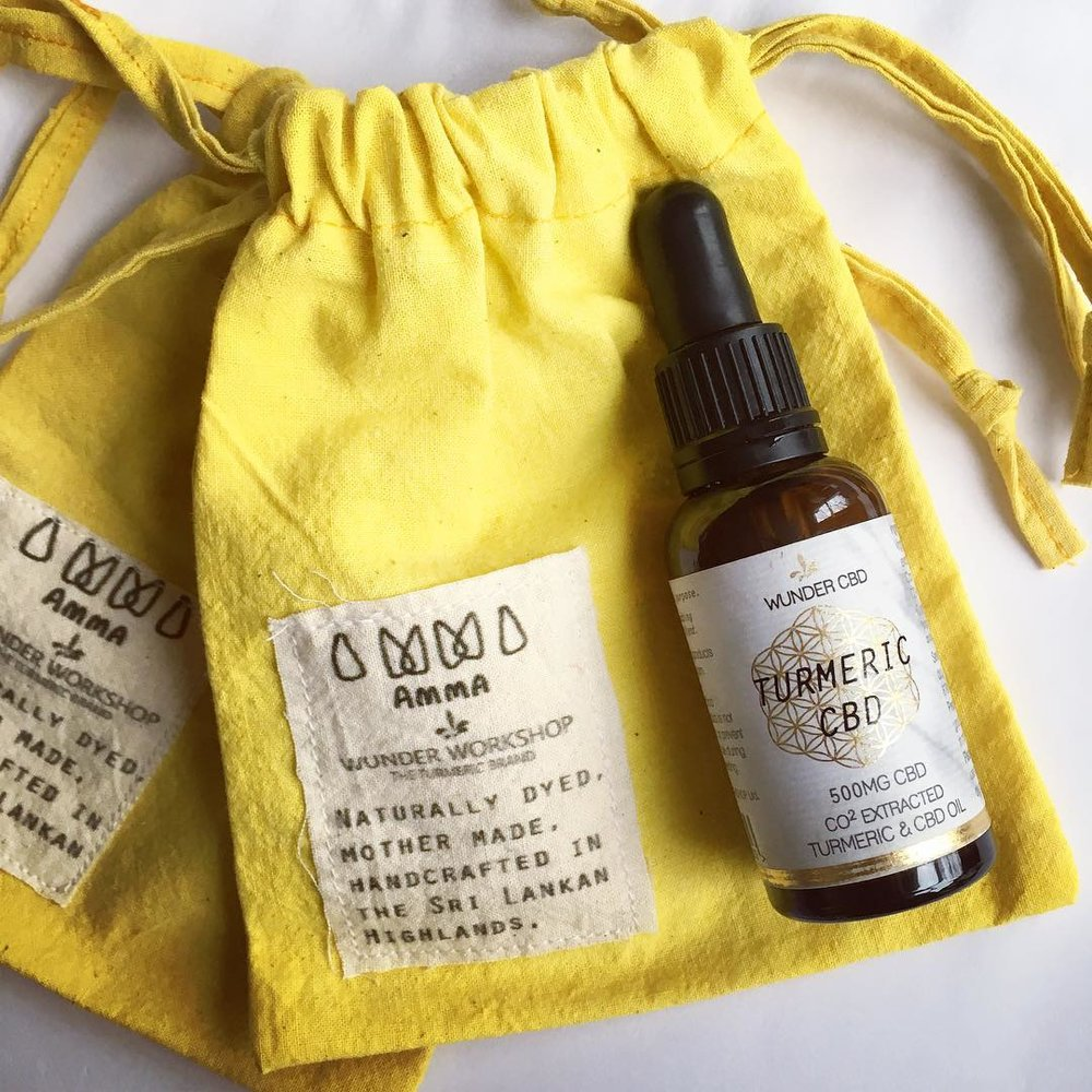 Wunder Workshop, London - AMMA collaborated with Wunder Workshop to produce Turmeric dyed pouches which come with any online order of their Turmeric CBD oil.