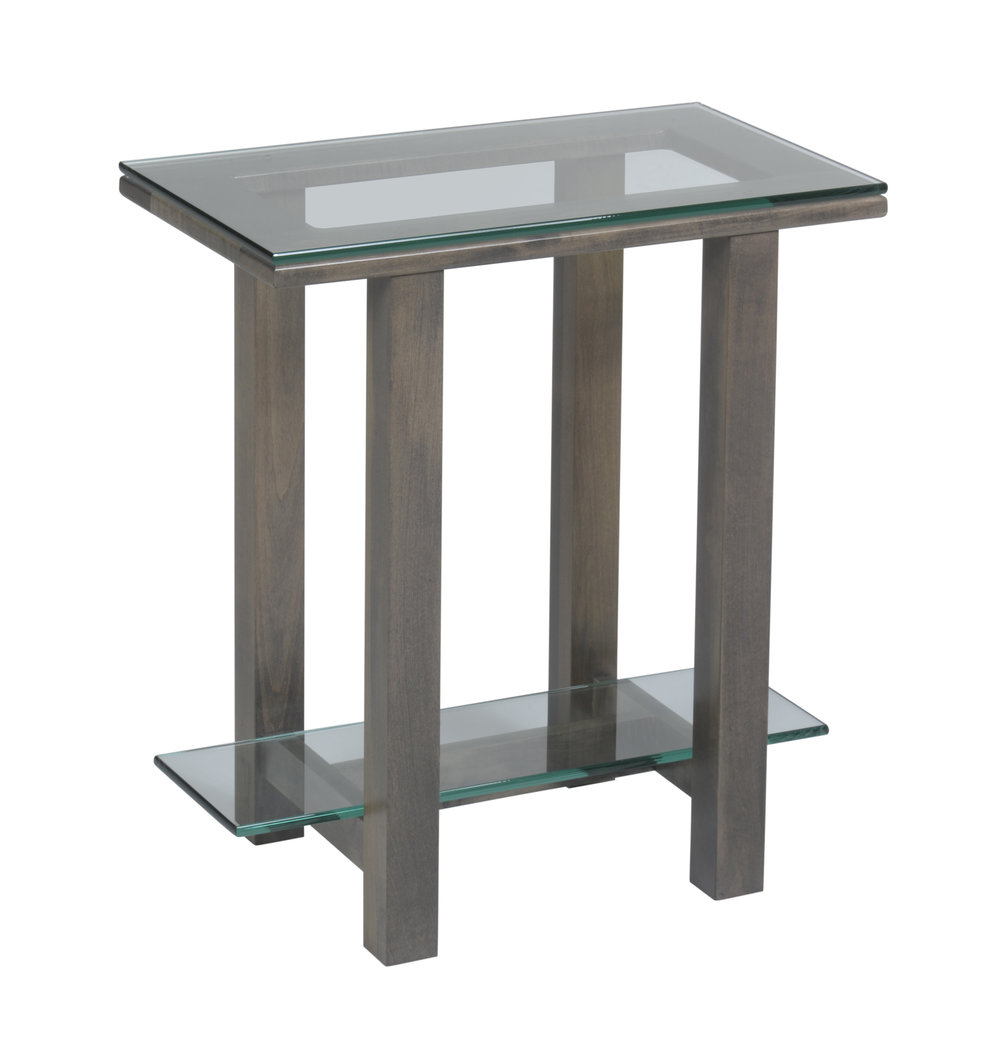 hilton glass chairside table