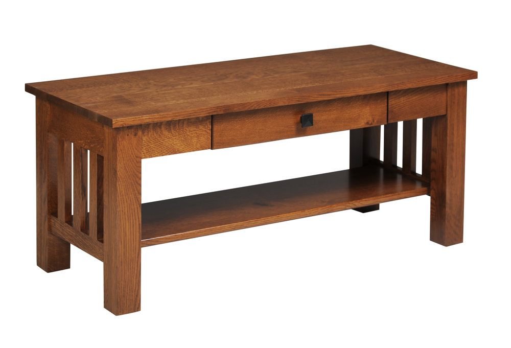mission coffee table with drawers