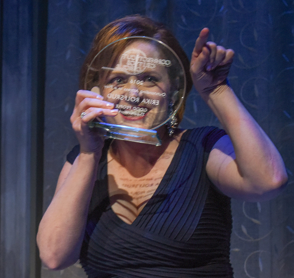 Erika Rolfsrud accepting outstanding actress award at 2016's Connecticut Critics Circle Awards (Photo by Mara Lavitt)
