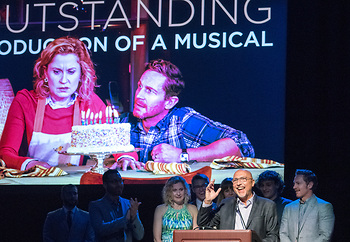 """Rob Ruggiero, who was recipient of outstanding director of a musical award, accepting for outstanding musical production award for """"Next to Normal."""""""