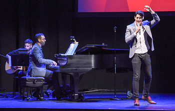 """Billy Bivona, Adam Souza and Bobby Conte Thornton (star of """"A Bronx Tale"""" on Broadway) perform"""
