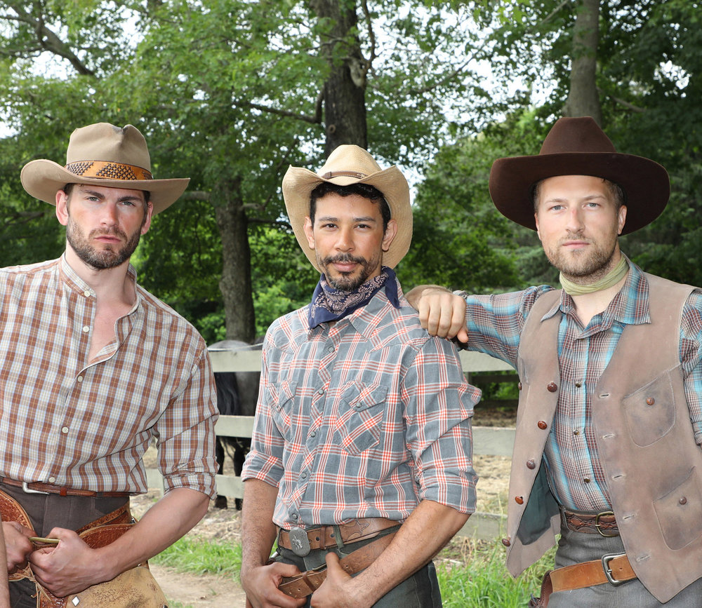 "Alex Ringler, Marco Antonio Santiago and Tripp Hampton on location for a photo shoot to advance the production of Goodspeed Musical';s production of ""Oklahoma!"" at the Goodspeed Opera House. Previews start July 14 and opens in August."