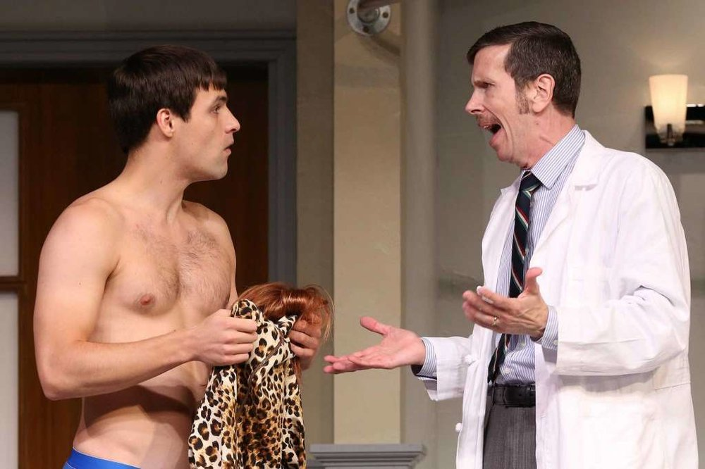 "Chris Ghaffari and Robert Stanton in ""What the Butler Saw"" at Westport Country Playhouse last year."
