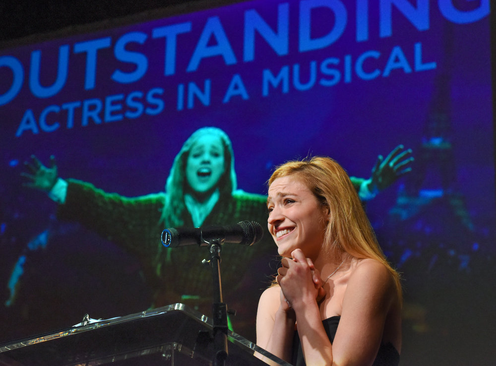 "Christy Altomare receiving her award for outstanding actress in a musical for Hartford Stage's production of ""Anastasia."""