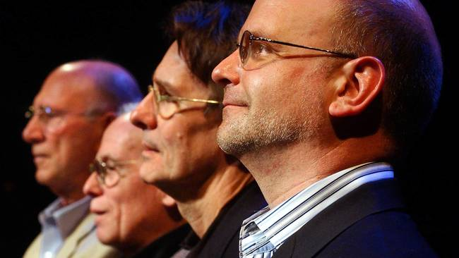 Paul Weidner, Jacques Cartier, Mark Lamos and Michael Wilson, four of Hartford Stage';s five artistic directors.